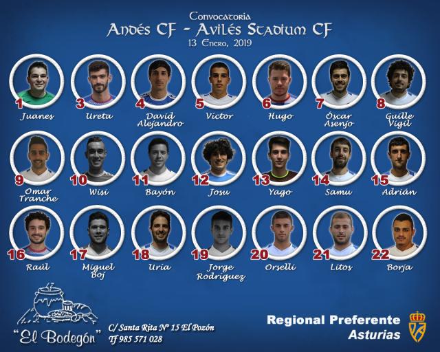 Convocatoria: Andés - Avilés Stadium